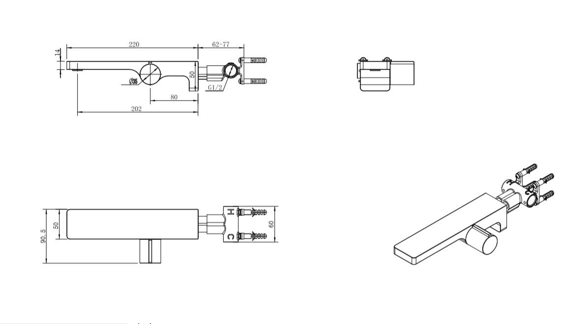 TECHNICAL DRAWING schema-robinet-lavabo-mural-carr