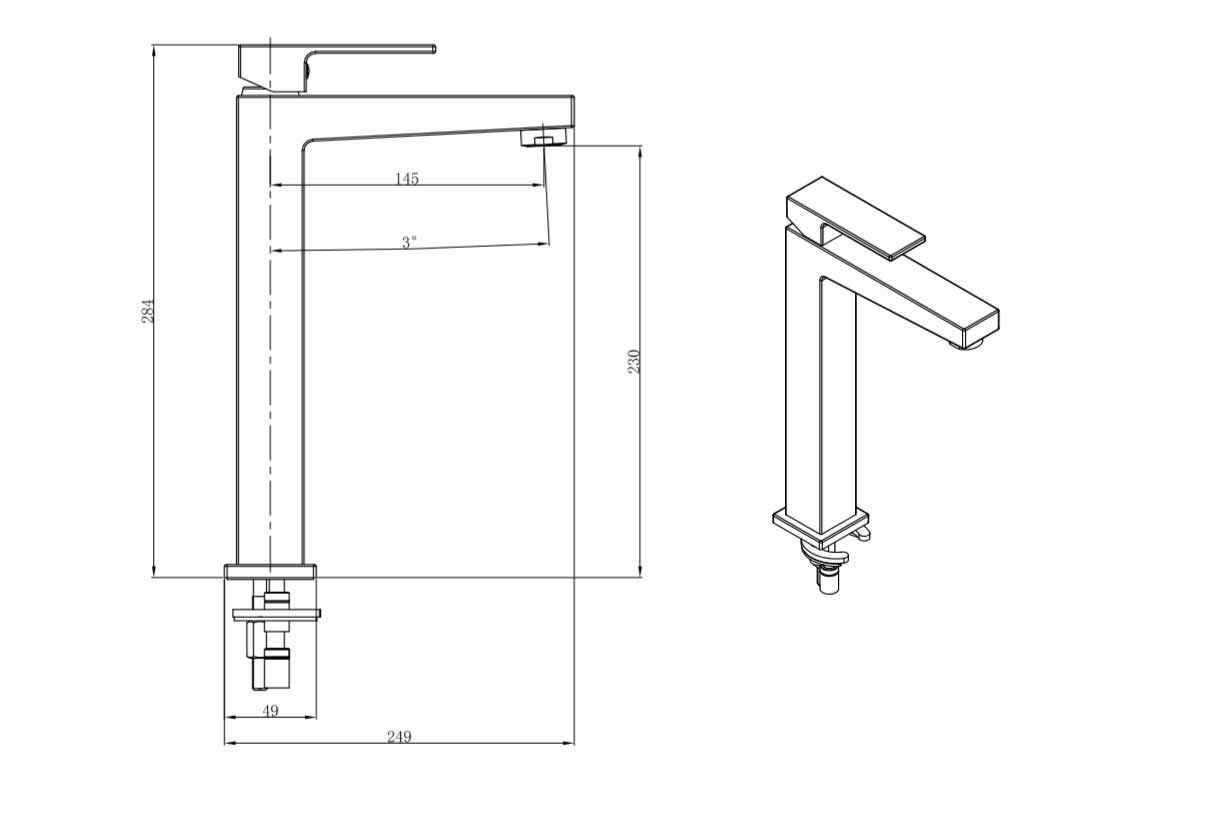 TECHNICAL DRAWING tuileries-lavabo-haut