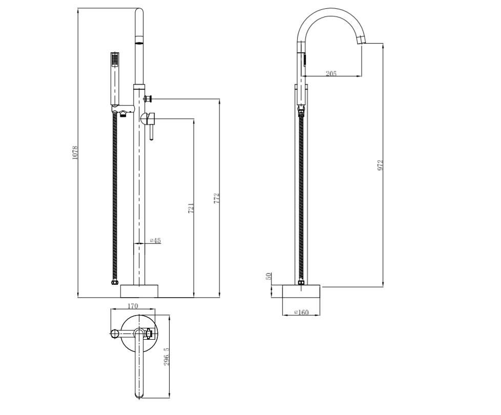 TECHNICAL DRAWING schema-mitigeur-baignoire-sol