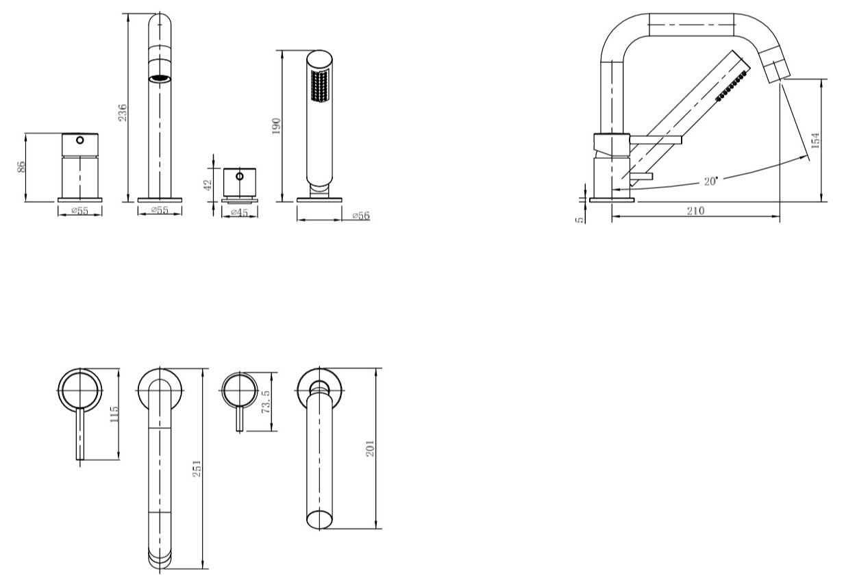 TECHNICAL DRAWING schema-mitigeur-plage-bain