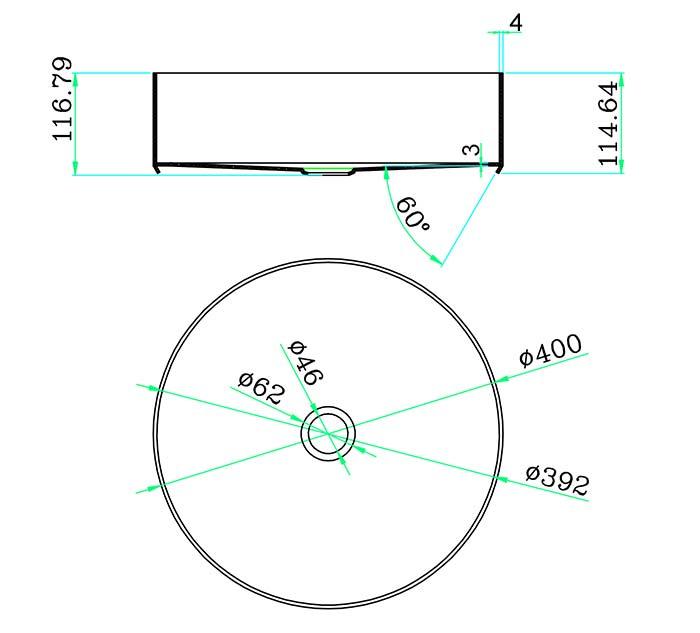 TECHNICAL DRAWING schéma vasque Art inox 40cm