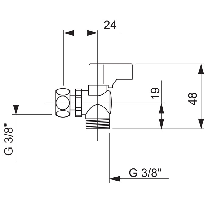 TECHNICAL DRAWING robinet equerre