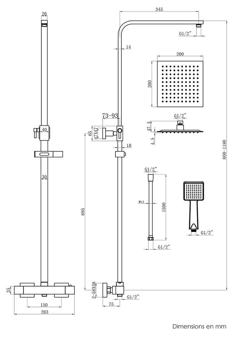 TECHNICAL DRAWING colonne-de-douche-ecoqubik-schem
