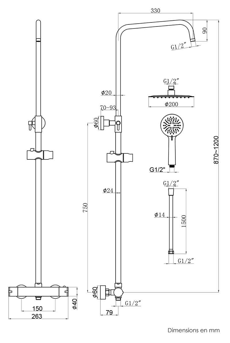 TECHNICAL DRAWING colonne-de-douche-ecoroll-schema