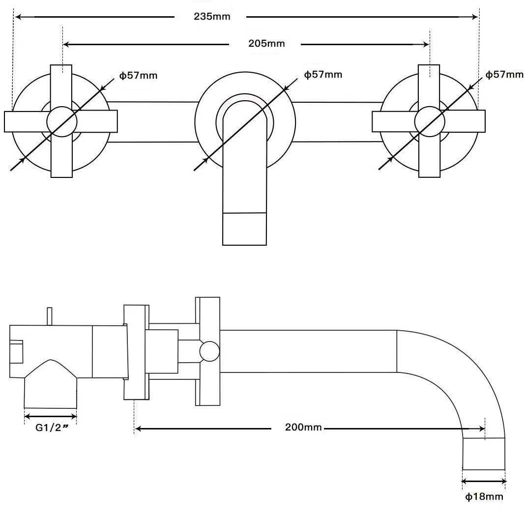 TECHNICAL DRAWING -schema-melangeur-lavabo