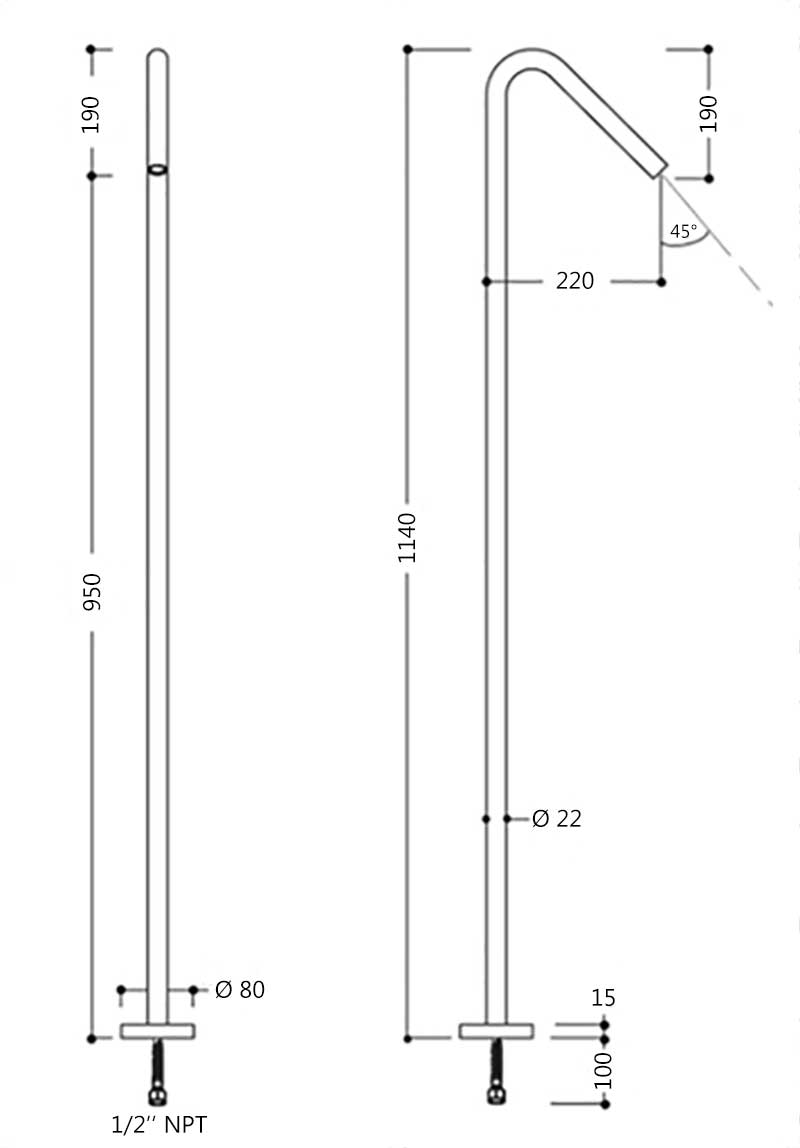 TECHNICAL DRAWING schema-robinet-sur-pied