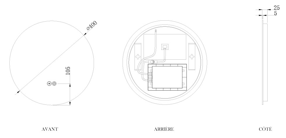 TECHNICAL DRAWING schema-miroir-roundy-40cm