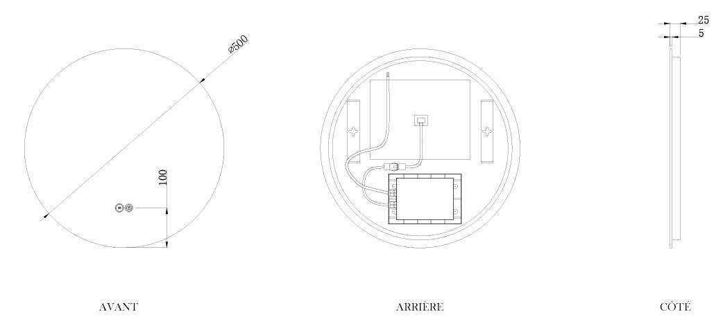TECHNICAL DRAWING schema-miroir-roundy-50cm