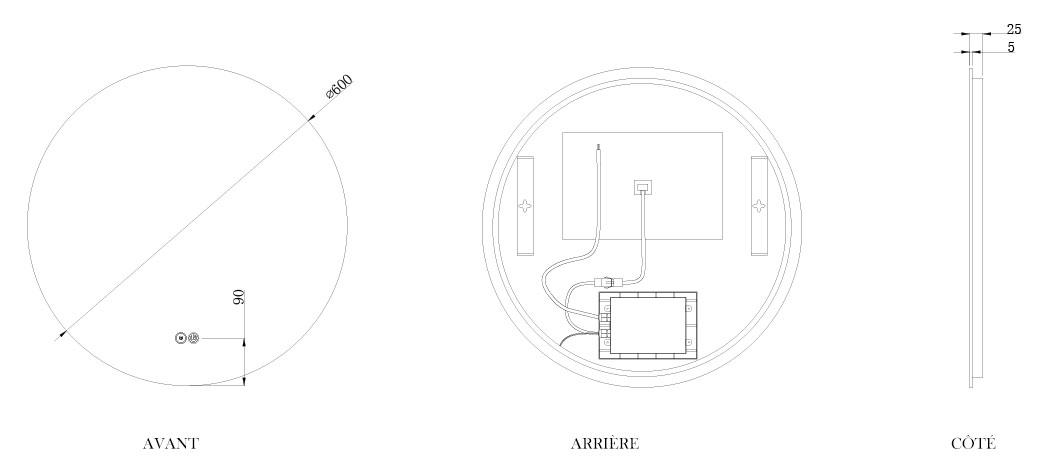 TECHNICAL DRAWING schema-miroir-roundy-60cm