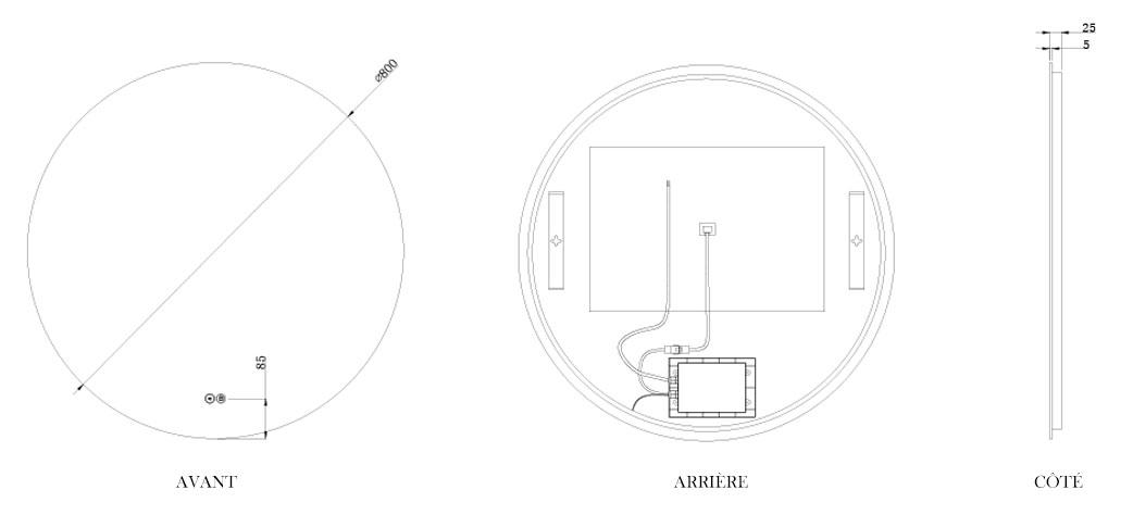 TECHNICAL DRAWING schema-miroir-roundy-80cm