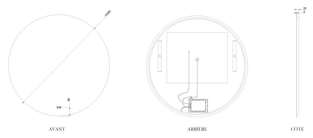 TECHNICAL DRAWING schema-miroir-roundy-100cm