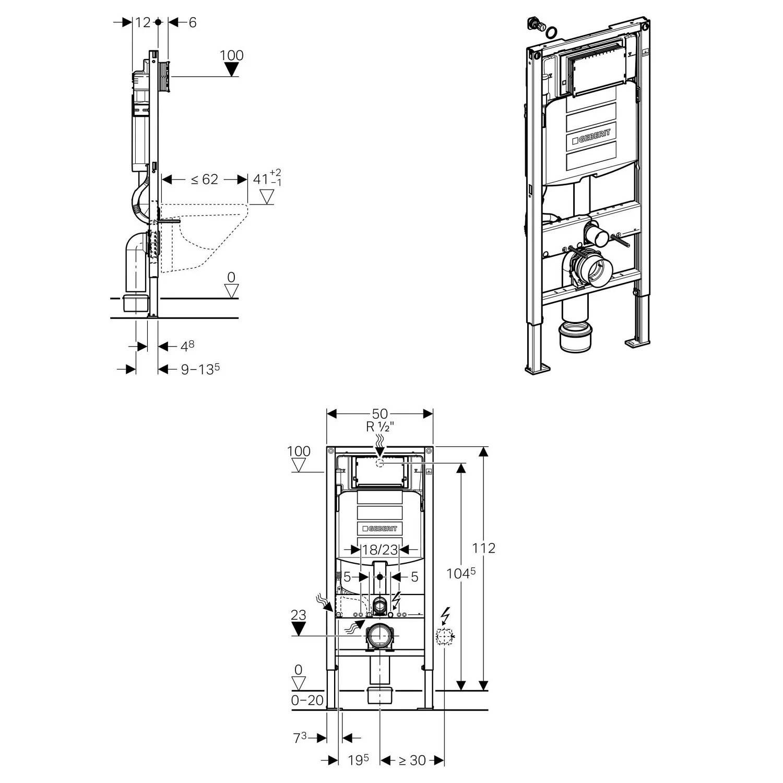 TECHNICAL DRAWING schema-bati-support-geberit-sigm