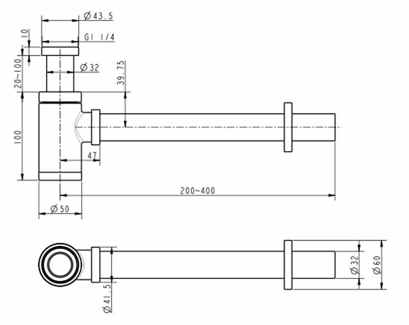 TECHNICAL DRAWING schema siphon rose