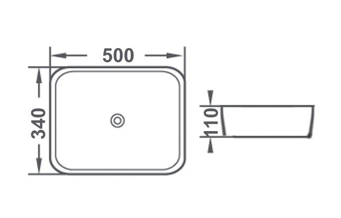 TECHNICAL DRAWING schema vasque rectangulaire 50 c