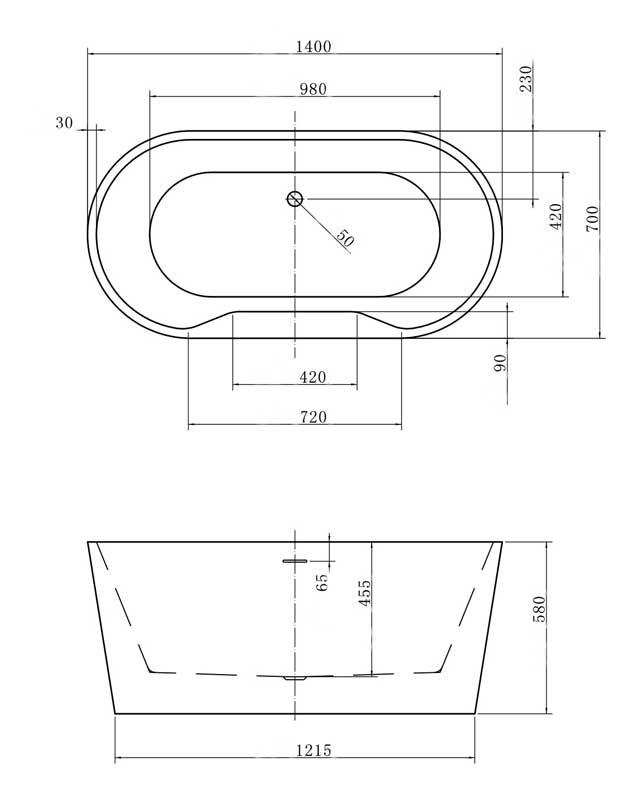 TECHNICAL DRAWING baignoire-ilot-faroe-1400