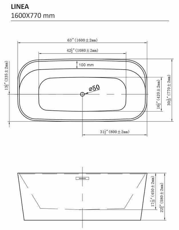 TECHNICAL DRAWING schema-baignoire-linea-1600