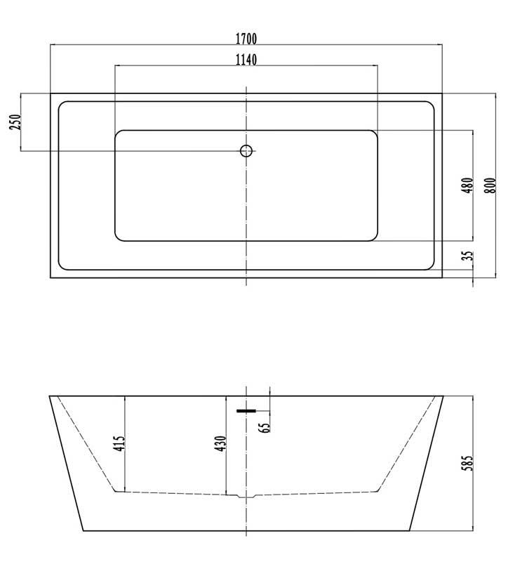 TECHNICAL DRAWING schema-baignoire-kadra-1700