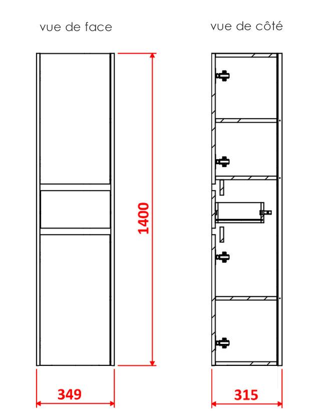 TECHNICAL DRAWING Colonne-CARUSO-2-portes-tiroir