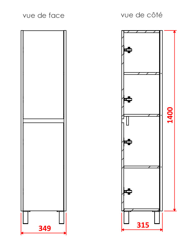 TECHNICAL DRAWING Colonne-CARUSO-2-portes-pieds