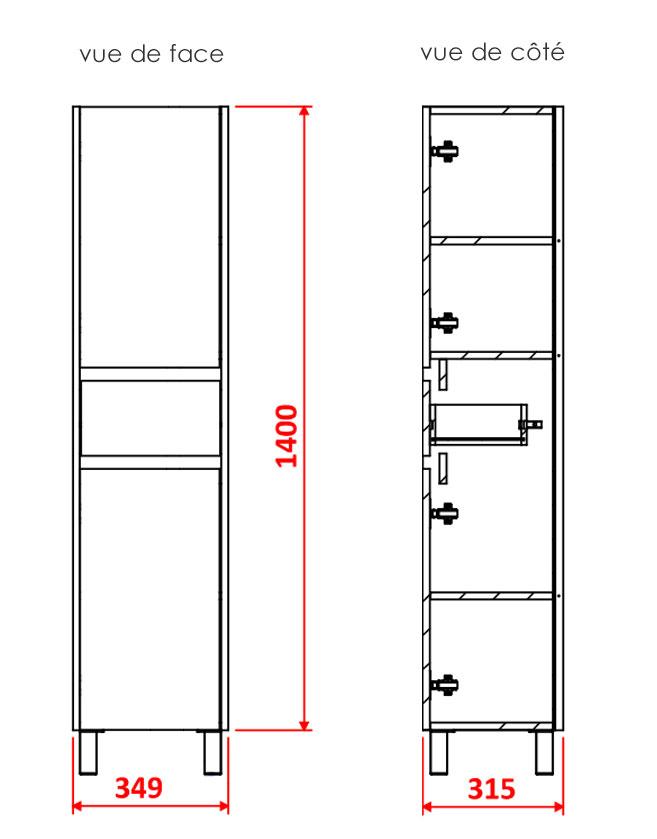 TECHNICAL DRAWING Colonne-CARUSO-2-portes-tiroir-p