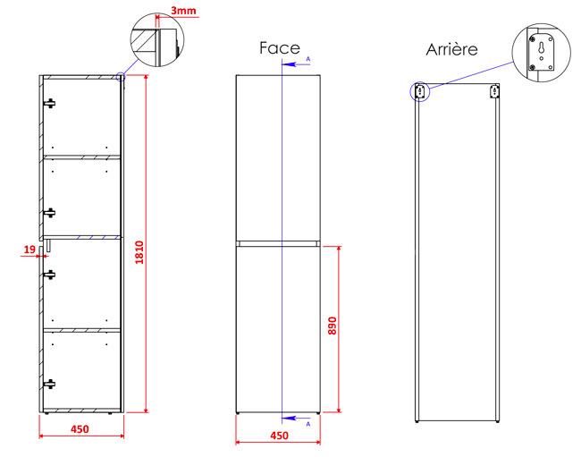 TECHNICAL DRAWING schema colonne porte M4.0