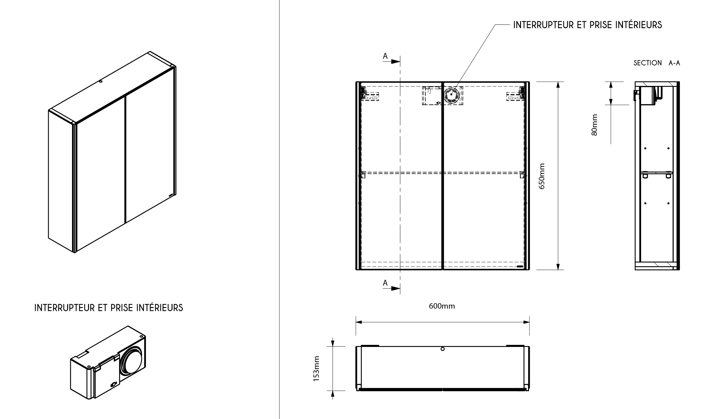 TECHNICAL DRAWING Mirror-60-cm