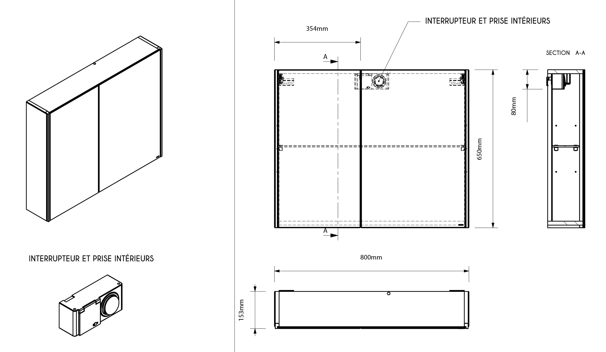 TECHNICAL DRAWING Mirror-80-cm