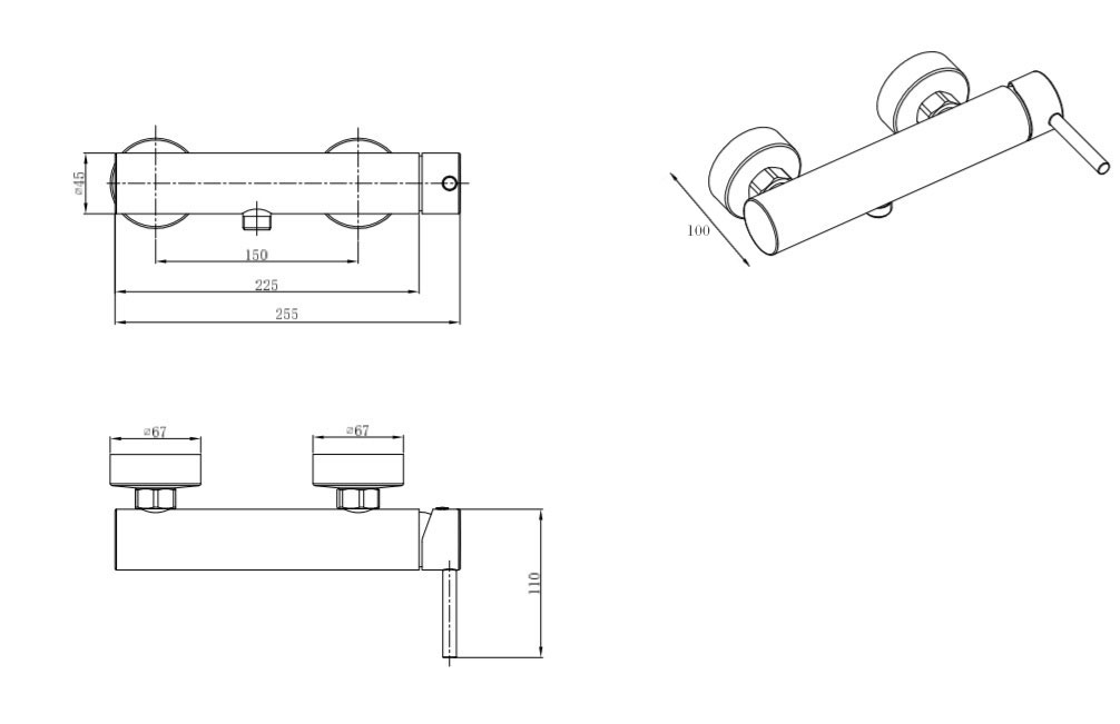 TECHNICAL DRAWING schema-mitigeur-douche-chatelet