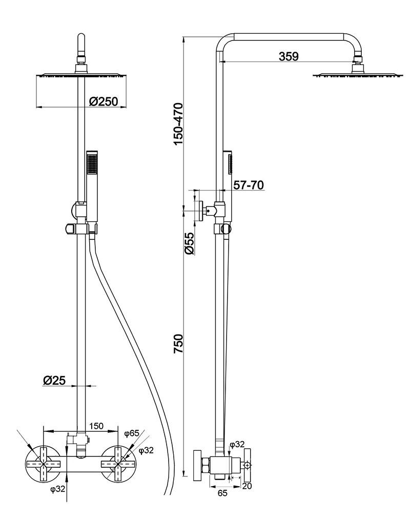 TECHNICAL DRAWING schema-colonne-cross