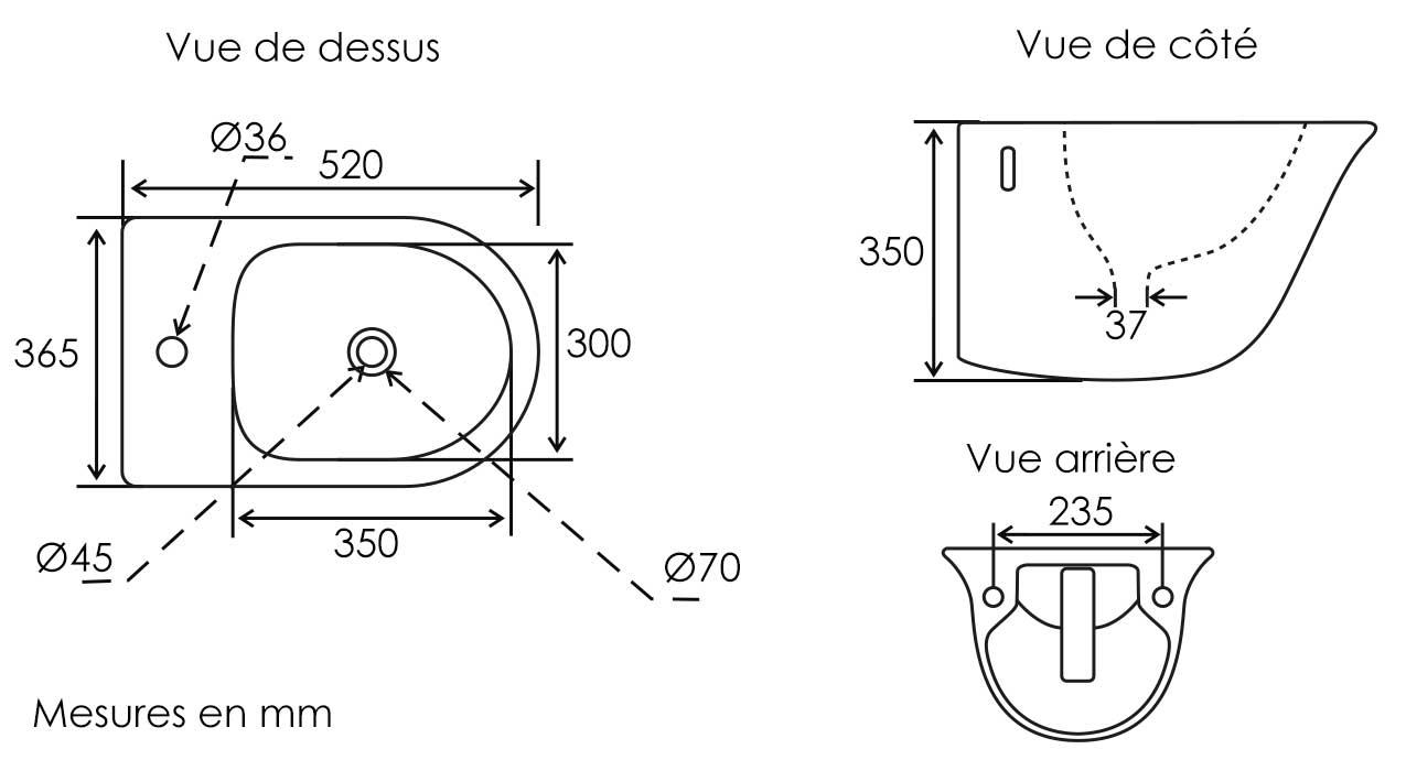 TECHNICAL DRAWING schema-bidet-alta