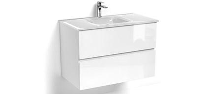 meuble suspendu 80 ou 100 cm vasque en verre blanc brillant glass3. Black Bedroom Furniture Sets. Home Design Ideas