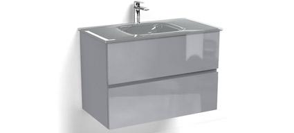 Glass3 meuble salle de bain suspendu gris brillant 80 cm 100 cm plan verre - Miroir salle de bain 140x80 ...