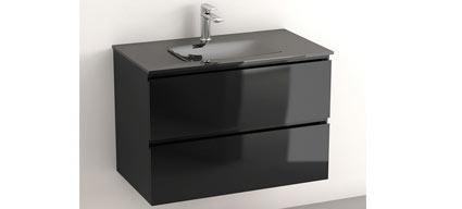 glass3 meuble salle de bain suspendu noir brillant 80 cm plan verre. Black Bedroom Furniture Sets. Home Design Ideas