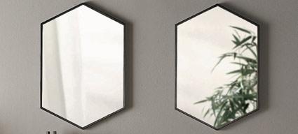 Miroir hexagonal en m tal noir mat l50xh75 cm hexa for Miroir hexagonal cuivre