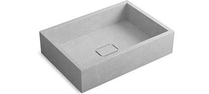 vasque en pierre reconstitu e gris polar 50x35 cm pietra. Black Bedroom Furniture Sets. Home Design Ideas